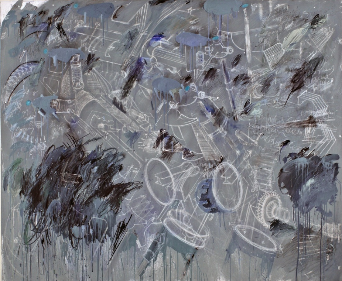 LAPSUS 42 from the Lapsus Series 2014/15, Paint Acrylic Chalk Charcoal Wax Pastels on Canvas, 165x200 cm