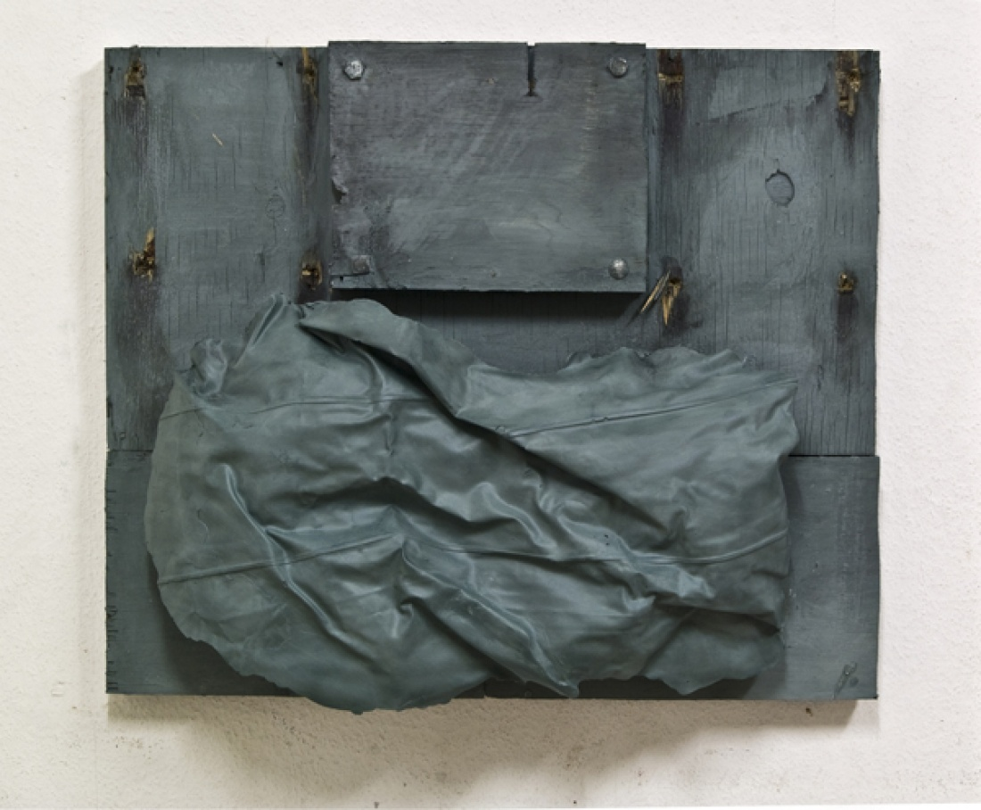 Becoming other from the Series Chamber Plates 2012/13, Wood Plaster Paint Graphite Grease, 90x120 cm