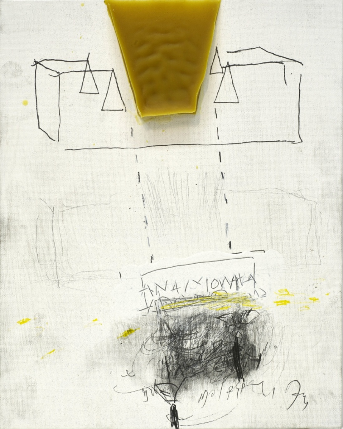 Untitled (6.) from the Series Breath Repository ( Atem Speicher ) 2016, Bees Wax Pencil Charcoal on board Canvas, 32x21 cm