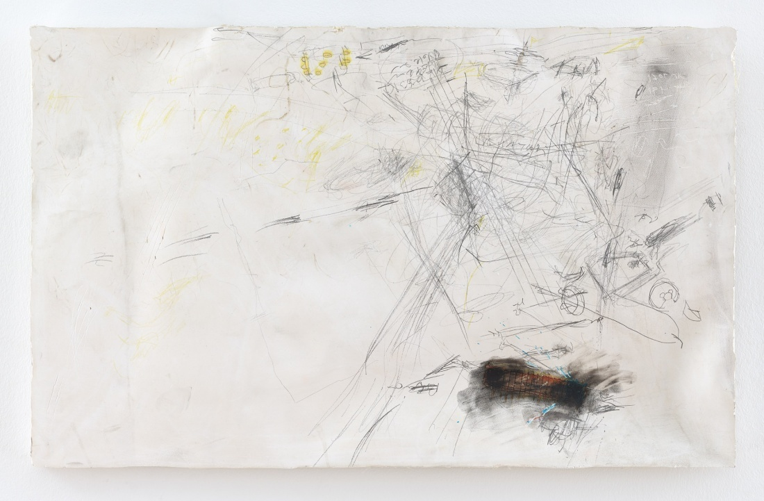 Untitled from the Series Cryptic Notes 2016, Pencil Ink Pastels on Plaster Plate, 41x70 cm