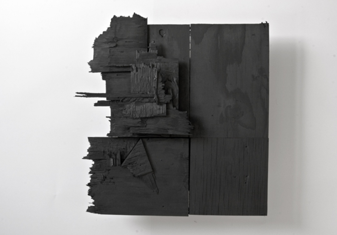 OMEGA from the Series Chamber Plates 2013, Powder Coat on Wood, apr. 50x50 cm