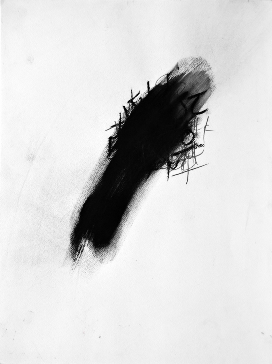 Untitled (Tongue) from the Series VOJ 2017/18, Charcoal and Tar on Paper, 60x40 cm
